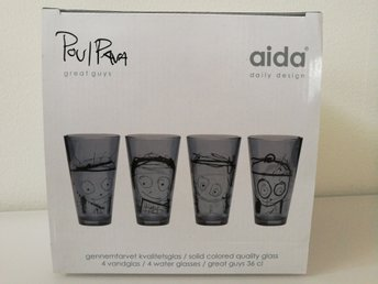Nya! Poul Pava by Aida daily design Great Guys 4st dricksglas 36 cl.