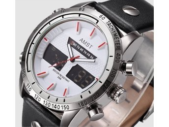 "AMST Wrangler Watch Silver/white/red ""Willow belt"""