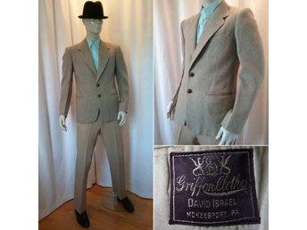 3826ae993dff Vintage kavaj Sports Jacket brun-beige-blå tweed läderknappar 50-tal, stl