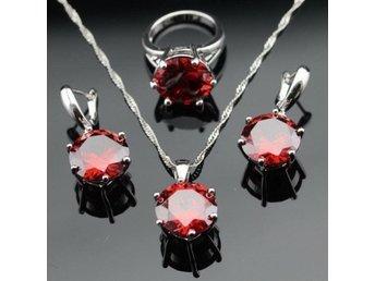 Oval Röd Garnet 925 sterling silver halsband hänge Örhängen ring 16,5mm - Helsingborg - Oval Röd Garnet 925 sterling silver halsband hänge Örhängen ring 16,5mm - Helsingborg