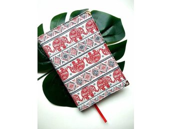 Handmade Red Elephant, Print Fabric, Book Cover, PaperBack,Journal Cover.