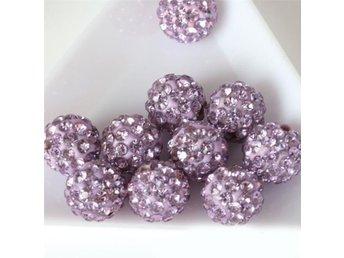 FRI FRAKT!!! 10st Shamballa pärlor ca 8mm ljus syren - Nyvång - FRI FRAKT!!! 10st Shamballa pärlor ca 8mm ljus syren - Nyvång