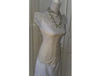 "Antique Beige ""Selfridge"" Edwardian Corset made early 1900 Not used From stock60"