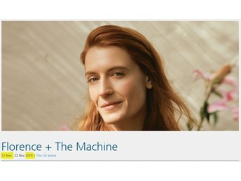 Florence + The Machine biljett O2 Arena London Ståplatsbiljett 1 st 21 NOV 2018