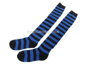 Knästrumpor High Long Striped Stocking Dark Blue Fri Frakt Ny