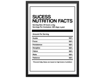 Affisch Poster Framgång Success Nutrition Facts 33x48
