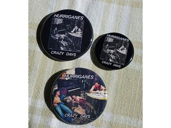 HURRIGANES x 3 - Badges / Pins / Knappar (Crazy Days, 70-tal, Finland, Raggare,)