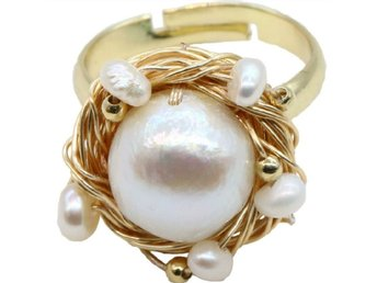 Classic Genuine Natural Pearl Nest Ring In 14K Yellow Gold Plated MR0009