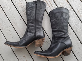 Snygga svarta mönstrade Sixtyseven western cowboy skinn biker stövlar boots 40