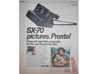 POLAROID SX-70 PICTURES PRONTO!, TIDNINGSANNONS 1976