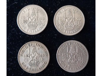 one shilling 4 st 1940 1948 1949 1950 England