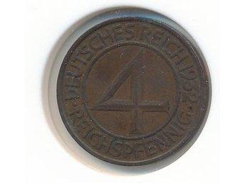 Tyskland 4 reichspfennig 1932 E • KM#75 • kv ca 01/0 • - Bromma - Tyskland 4 reichspfennig 1932 E • KM#75 • kv ca 01/0 • - Bromma
