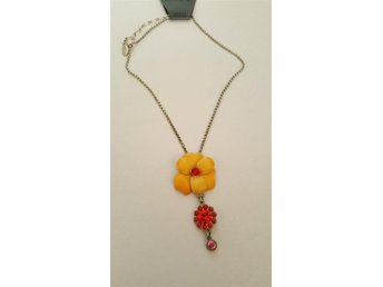 Pilgrim Halsband flower two i orange ton