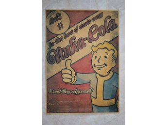 Nuka-Cola Vault-Boy Approved, Tummen Upp Fallout Poster 30*42cm Ny