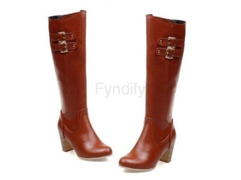 Dam Boots Round Toe Quality Footwear Heels Shoes Brown 42