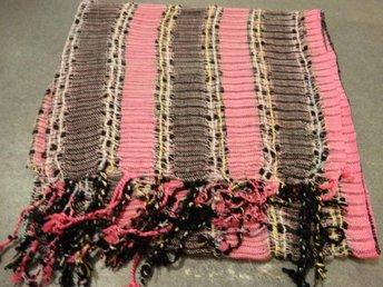 SJAL BOHEM ROSA svart randig scarf halsduk indiska vävda mönster FRI FRAKT 31871585f9cc2