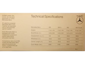 1972 Mercedes-Benz 300 350 600 Technical Specifications