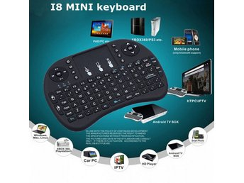 Mini I8 Wireless 2.4G tangentbord med pekplatta för Smart TV Box PC Hebrew Svart