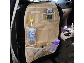 Car Back Seat Protector Multi-Pocket Organizer Storage Bag Beige
