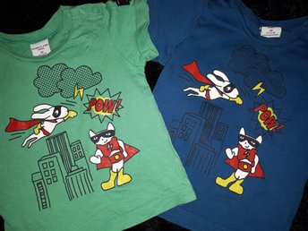2 st POP t-shirts med tryck Polarn o pyret Stl 80
