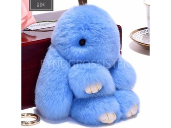 Fluffy Big Bunny Faux Rabbit Fur Nyckelring Keychain Light Blue Fri Frakt Ny