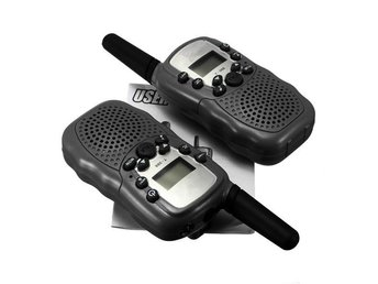 2 st Walkie Talkie Radio 0,5W UHF-band AAA-batterier - Svart