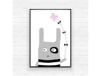 A3 Poster, print, tavla, barnrum, barnkammare, barn, baby, grafisk, kanin, rosa - Kristianstad - A3 Poster, print, tavla, barnrum, barnkammare, barn, baby, grafisk, kanin, rosa - Kristianstad