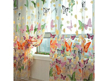 Butterfly Printed Sheer Window Curtains Tulle Door Window...