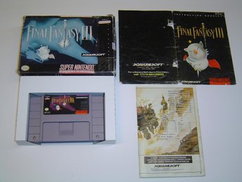 Final Fantasy 3 FF3 Super Nintendo SNES Amerikanskt USA NTSC + Box & Manual