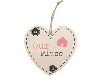 OUR PLACE HANGING HEART SIGN