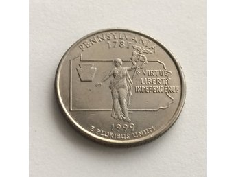 Mynt USA 1999 P PENNSYLVANIA 25 cents 1/4 Dollar Quarter