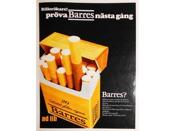 BARRES FILTER CIGARILL TIDNINGSANNONS Retro 1970