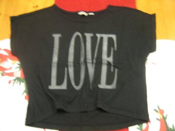 T-shirt - Love Svart (Kids By Lindex)  Stl. 146/152