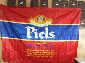 Vintage 80's PIELS Brooklyn NY Beer Wall Large Banner Nylon Flag 152cm x 213cm