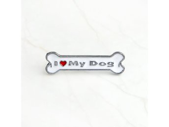 I Love My Dog Pin Emaljerad Metall Fint Detaljerad Pin! Hundben Hund