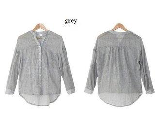 Womens linne skjorta GRÅ size M - Beijing - Womens linne skjorta GRÅ size M - Beijing