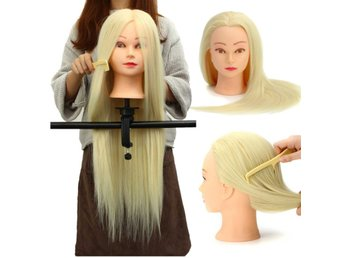 30% Real Hair Long Hairdressing Mannequin Training Practi...
