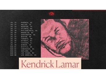 Kendrick Lamar: The DAMN. Tour. 3/3-2018. 2 Biljetter sektion A.