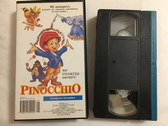 Pinocchio,barn video kassett,svenskt tal