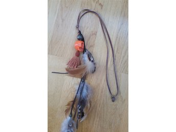 Brunt Långt Äkta Läderhalsband Orange Skull Tassel Feather Shabby Boho Chic