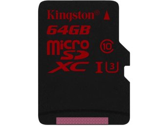 Kingston 64GB microSDXC UHS-I speed class 3 Single Pack w/o Adapter