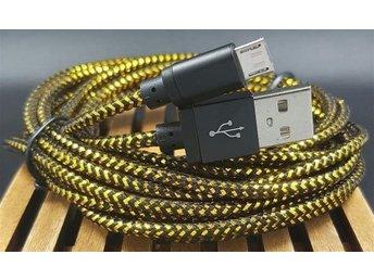 Micro USB 3m Flätad Laddkabel / Synkkabel / Laddare Svart / Guld - örebro - Micro USB 3m Flätad Laddkabel / Synkkabel / Laddare Svart / Guld - örebro
