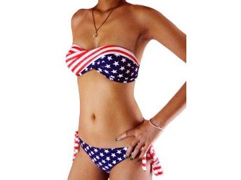 Badkläder Bikini USA Flagga Twistad Medium/Large