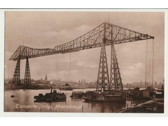 Vykort, Middlesbrough,Transporter Bridge, oskrivet