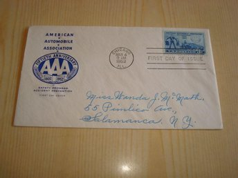 American Automobile Association AAA 1950 USA förstadagsbrev