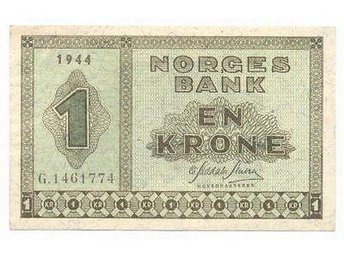 NORWAY 1 Krone 1944 XF/AU WWII banknote RARE IN SUCH GRADE