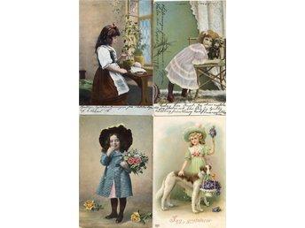 4 charmiga gratulationskort med barnmotiv ca 1904-1913 - Lenhovda - 4 charmiga gratulationskort med barnmotiv ca 1904-1913 - Lenhovda