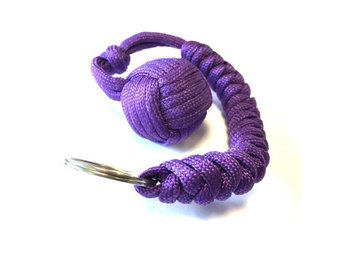 Paracord MonkeyFist / Apnäve -  nyckelring purple