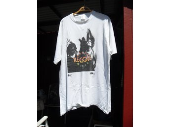 "T-Shirt Vit ""REAGGE MUSIC"" Skivbolag Mega Records St:XL"