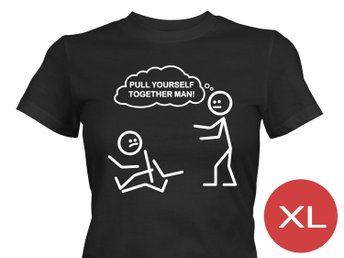 Pull Yourself Together T-Shirt Tröja Rolig Tshirt med tryck Svart DAM XL